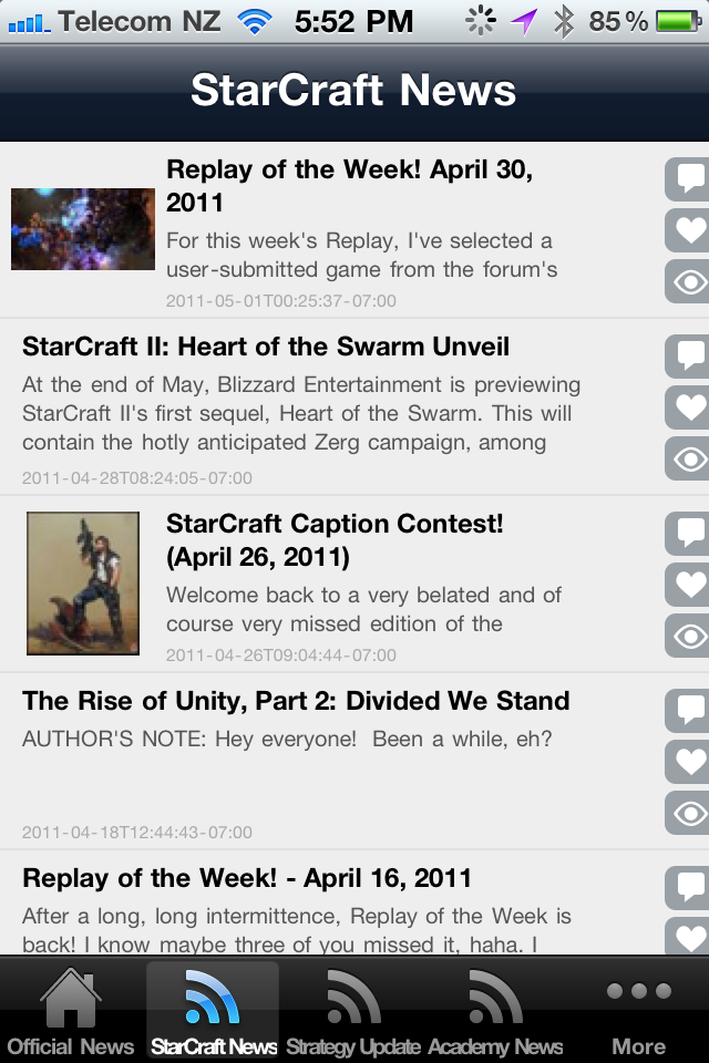 Screenshot StarCraft News